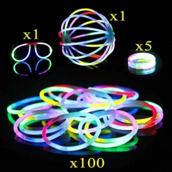 Glow sticks 100-pack - Mixed - 10 farger